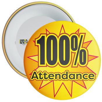 School 100% Attendance Badge with Orange Star Background