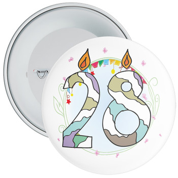 28th Birthday Badge with Candles and Blue Background
