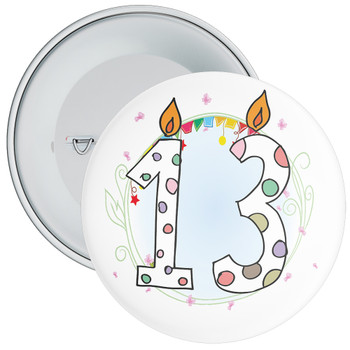 13th Birthday Badge with Candles and Blue Background