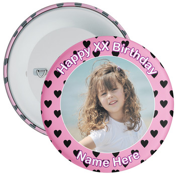 Heart Styled Customisable Birthday Photo Badge 7