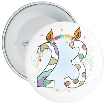 23rd Birthday Badge with Candles and Blue Background