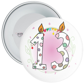 13th Birthday Badge with Candles and Pink Background