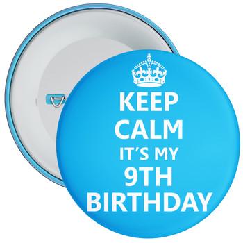 Keep Calm It's My 9th Birthday Badge (Blue)