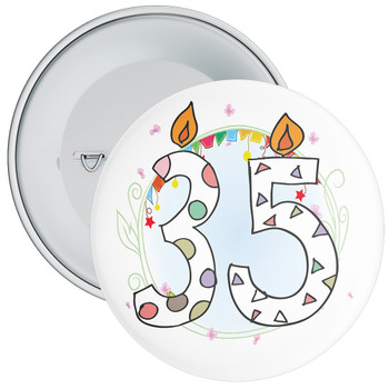 35th Birthday Badge with Candles and Blue Background