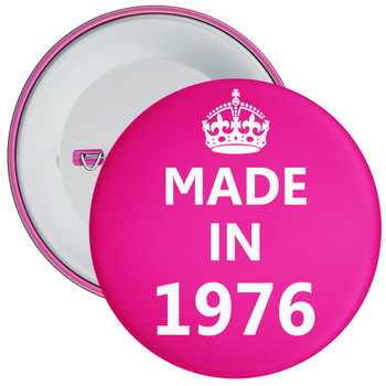 Pink Made in 1976 Birthday Badge