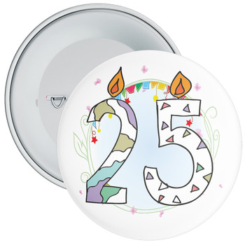 25th Birthday Badge with Candles and Blue Background