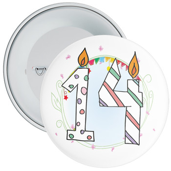14th Birthday Badge with Candles and Blue Background