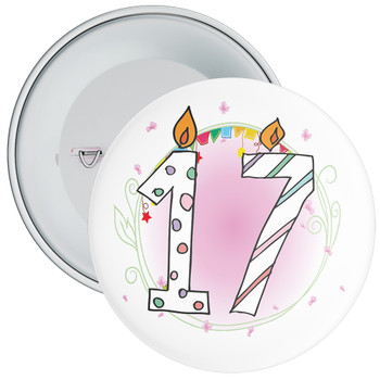 17th Birthday Badge with Candles and Pink Background