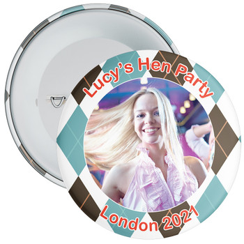Scottish Style Tartan Hen Party Badge with Photo 1