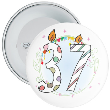 37th Birthday Badge with Candles and Blue Background