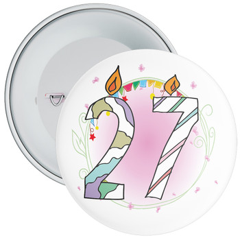 27th Birthday Badge with Candles and Pink Background