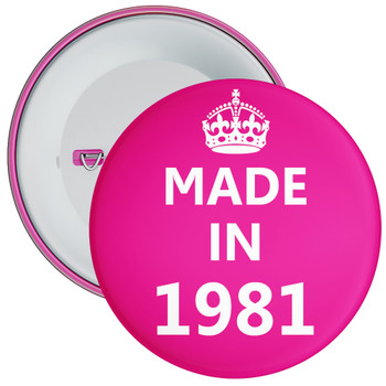 Pink Made in 1981 Birthday Badge