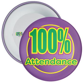 School 100% Attendance Badge with Purple Background 1