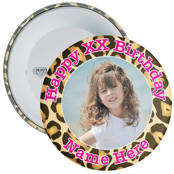 Camouflage Customisable Birthday Photo Badge