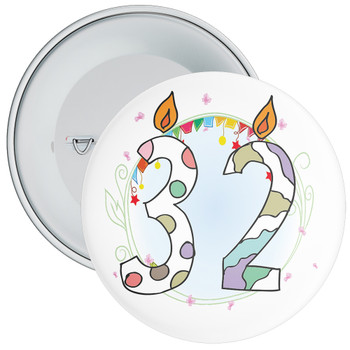 32nd Birthday Badge with Candles and Blue Background