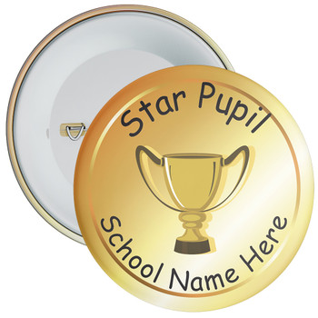 School Star Pupil Badge with Custom School Name (gold)