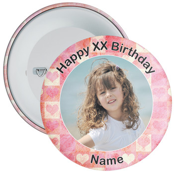 Heart Styled Customisable Birthday Photo Badge 1