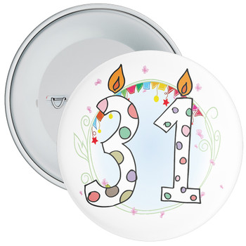 31st Birthday Badge with Candles and Blue Background