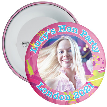 Customisable Pink Hen Party Photo Badge
