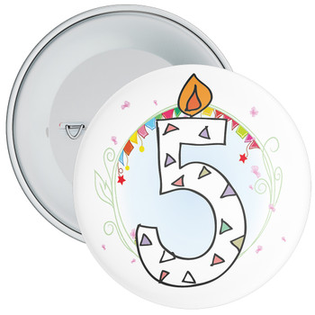 5th Birthday Badge with Candles and Blue Background