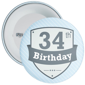 Vintage Retro 34th Birthday Badge