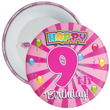 Pink 9th Birthday Badge