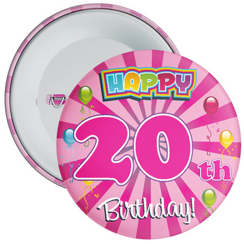 Pink 20th Birthday Badge
