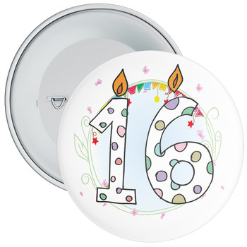 16th Birthday Badge with Candles and Blue Background
