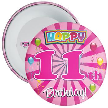 Pink 11th Birthday Badge