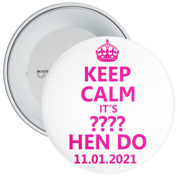 Customisable White and Pink Keep Calm Hen Party Badge