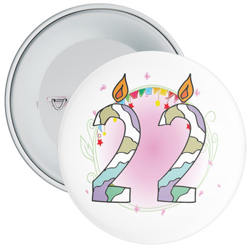 22nd Birthday Badge with Candles and Pink Background