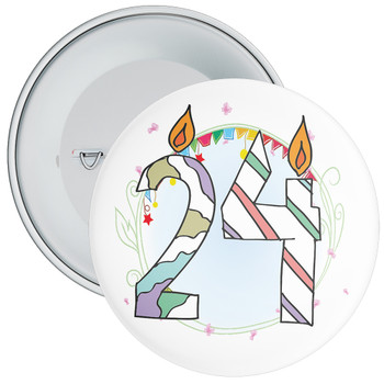 24th Birthday Badge with Candles and Blue Background