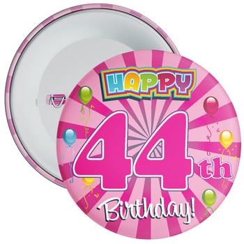 Pink 44th Birthday Badge