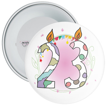 23rd Birthday Badge with Candles and Pink Background