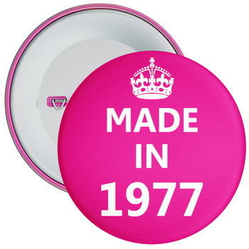 Pink Made in 1977 Birthday Badge