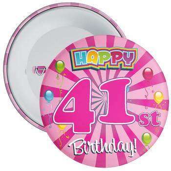 Pink 41st Birthday Badge