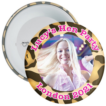 Customisable Leopard Print Hen Party Photo Badge