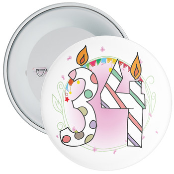 34th Birthday Badge with Candles and Pink Background