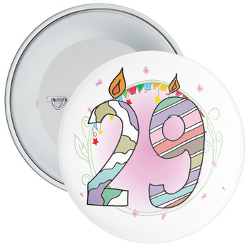 29th Birthday Badge with Candles and Pink Background