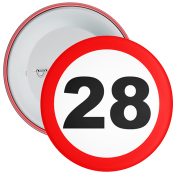 Speed Sign Themed 28th Birthday Badge