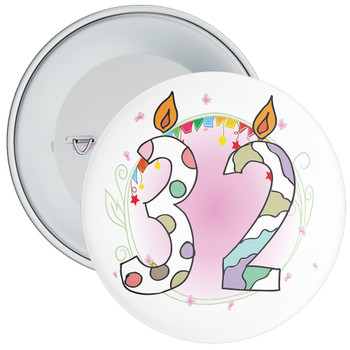 32nd Birthday Badge with Candles and Pink Background