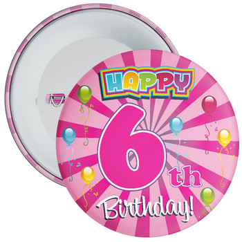 Pink 6th Birthday Badge