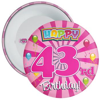 Pink 43rd Birthday Badge