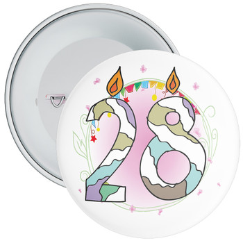 28th Birthday Badge with Candles and Pink Background