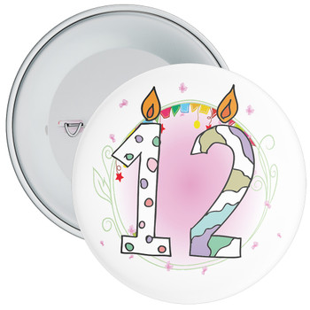 12th Birthday Badge with Candles and Pink Background