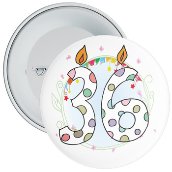 36th Birthday Badge with Candles and Blue Background
