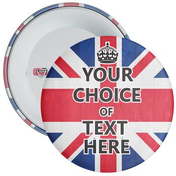 Customisable Keep Calm Badge (Union Jack)
