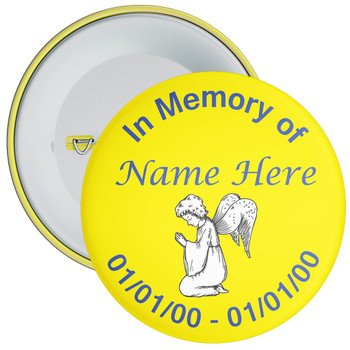 Yellow In Memory Badge with Custom Name & Dates 1