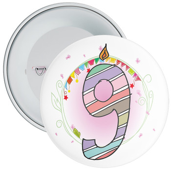 9th Birthday Badge with Candles and Pink Background