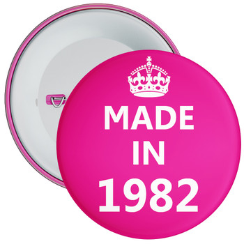 Pink Made in 1982 Birthday Badge